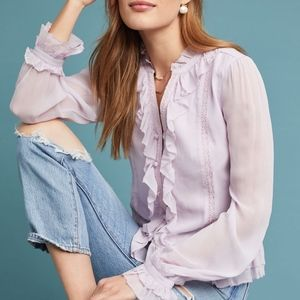 Layna Ruffled Buttondown | Anthropologie LAIA XS